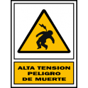 "Señal de peligro PVC ""Alta tension"" 210x297mm"